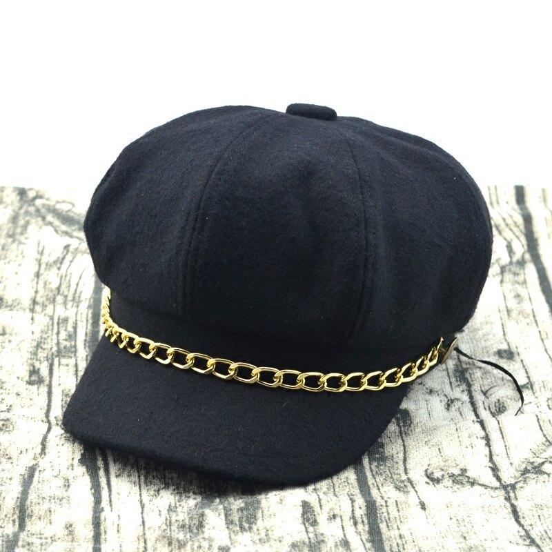 優雅帥氣時尚潮帽子金銀鏈條羊毛呢八角帽女秋冬天復古英倫貝雷帽1入