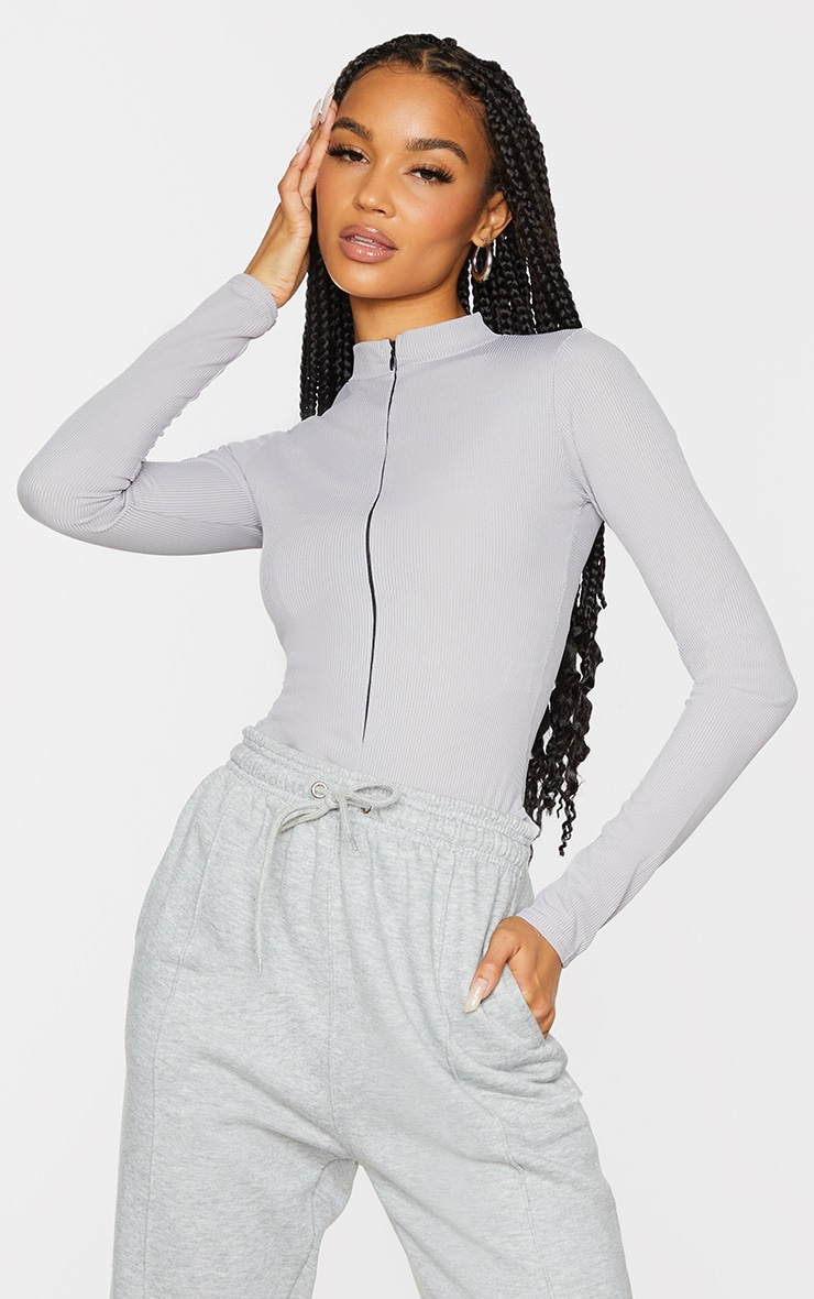 Grey Rib Zip Up Long Sleeve Bodysuit