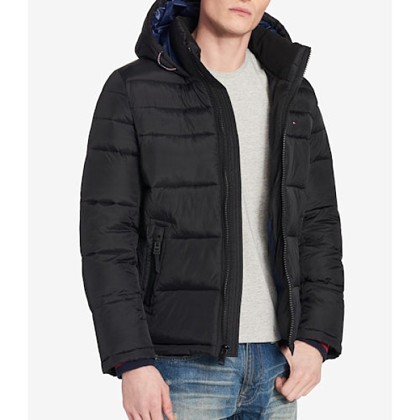 Tommy Hilfiger 男防風防水羽絨重量夾克(黑色)
