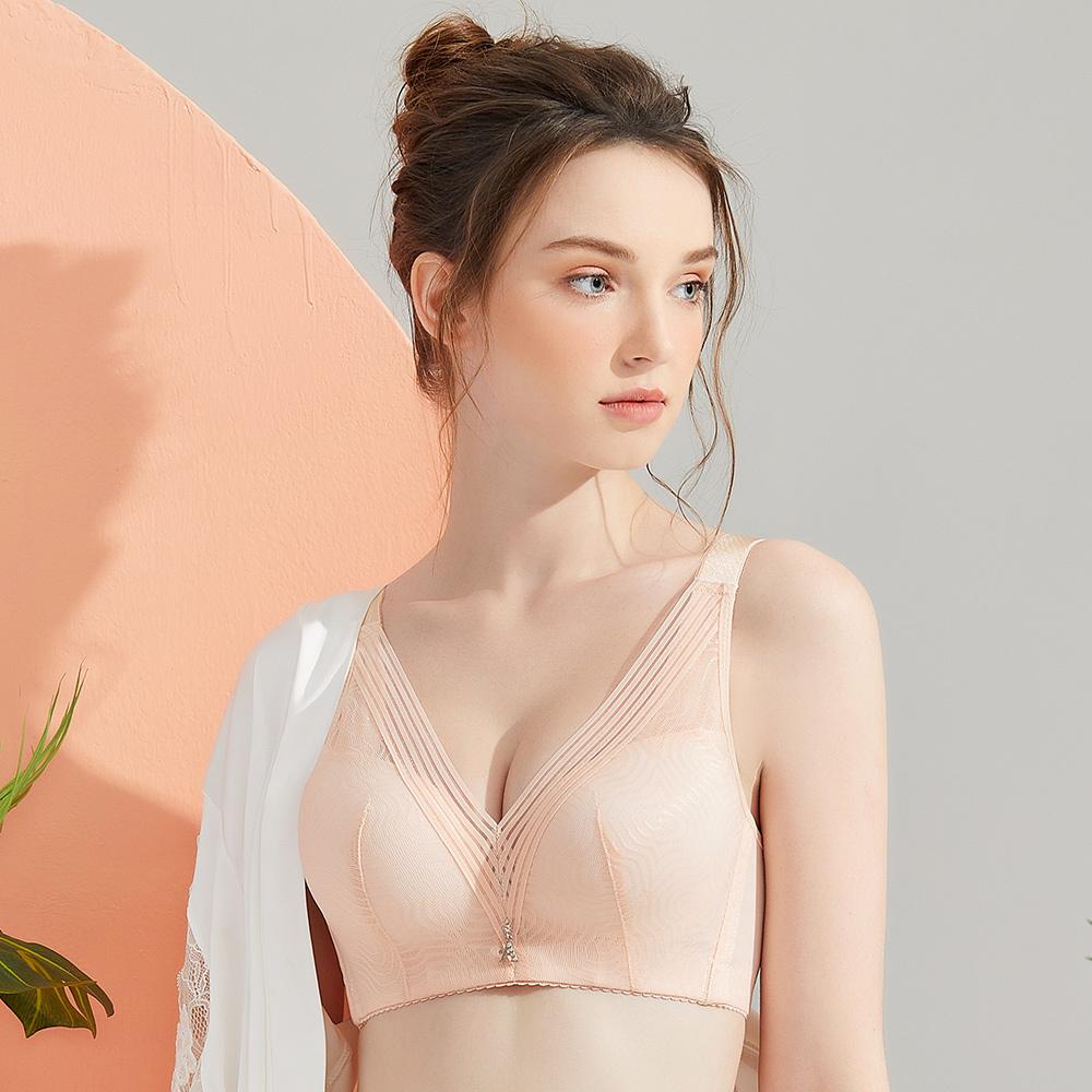 【Olivia】無鋼圈幾何網紗內衣-膚色
