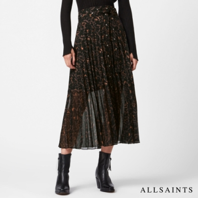 ALLSAINTS HARPER 懷舊復古印花微透不規則下擺中長裙-棕