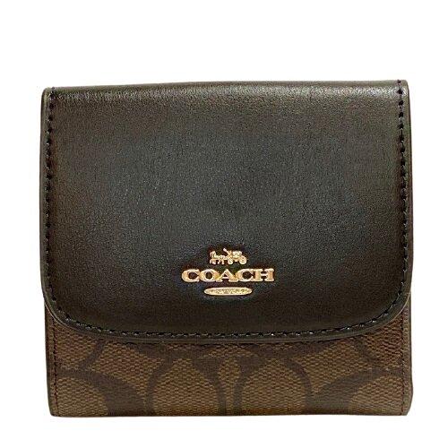 COACH 深咖啡色經典馬車PVC材質三折式短夾- 87589-IMAA8