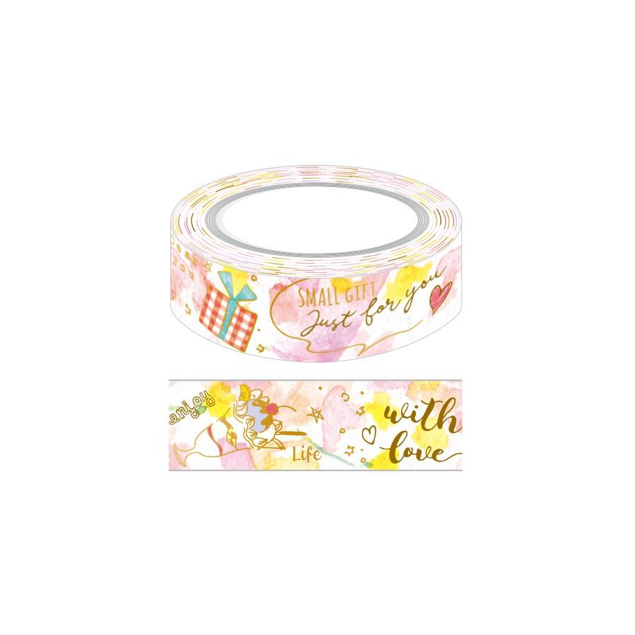 花漾燙金紙膠帶15mm-粉紅 PCF-705G (墊腳石購物網)