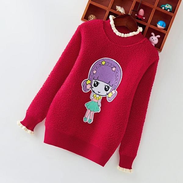 女童毛衣加絨加厚秋冬裝2020新款洋氣中大兒童寶寶保暖衛衣針織衫新年禮物