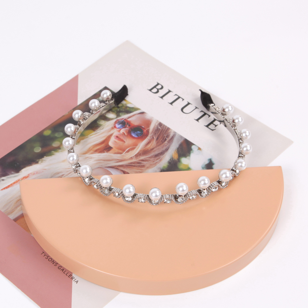 niceioi優雅珍珠水鑽造型髮箍