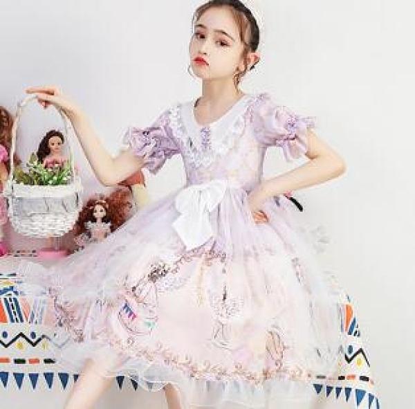 女童洋裝 女童洛麗塔裙短袖公主連衣裙洋裝蘿莉裙兒童禮服蓬蓬裙【快速出貨八折搶購】
