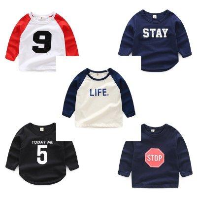 『熊寶童裝』兒童棒球長袖T恤 兒童拼接袖上衣90-130