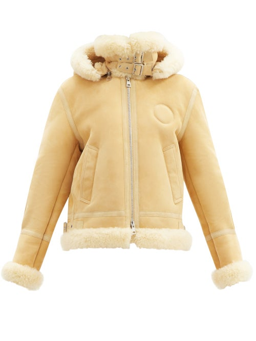 Chloé - Hooded Shearling Coat - Womens - Beige