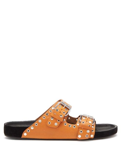 Isabel Marant - Lennyo Studded Leather Slides - Womens - Tan
