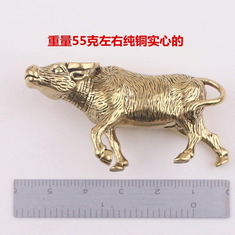 中國風純銅鑰匙扣生肖牛掛件辦公小擺件鎮紙茶寵男女創意個性禮品1入