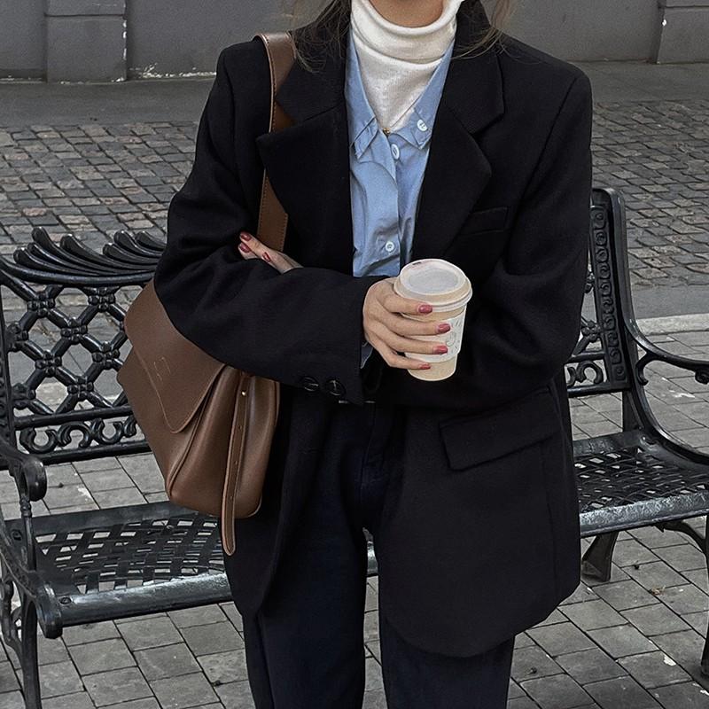 韓版西裝外套韓版寬松顯瘦氣質翻駁領雙排扣西服上衣