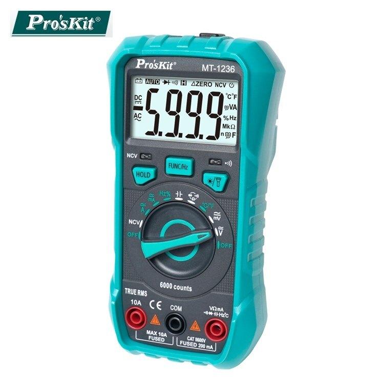 又敗家@台灣寶工Proskt真有效值3 5/6數位電表MT-1236萬用電錶附探針自動歸零雙保險絲交流電電壓電容電阻溫度