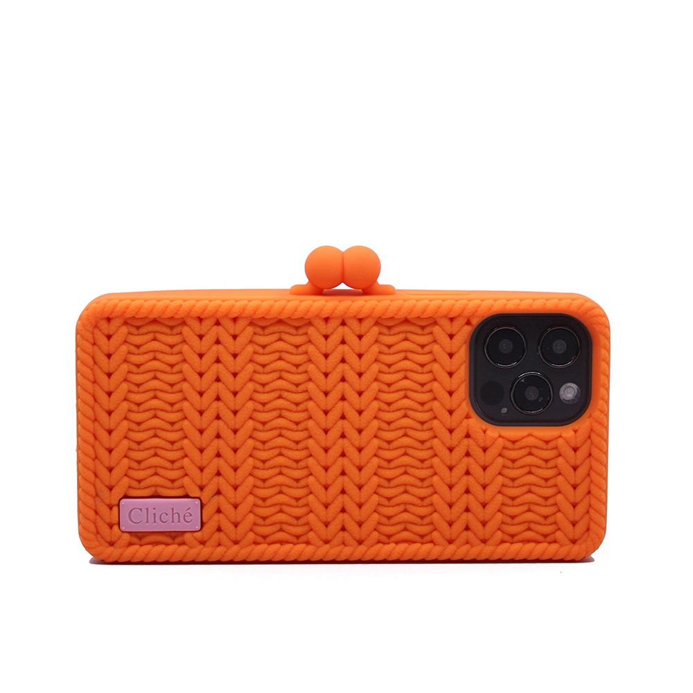 【Candies】Cliche針織 雙珠扣錢包(橘)-iPhone 12 / 12 Pro