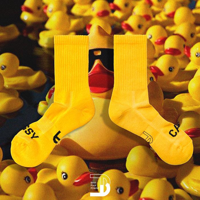BEST FOOT FRIEND - BF200011-23 標語素面 BFF 中筒襪 / 小腿襪 (黃色)