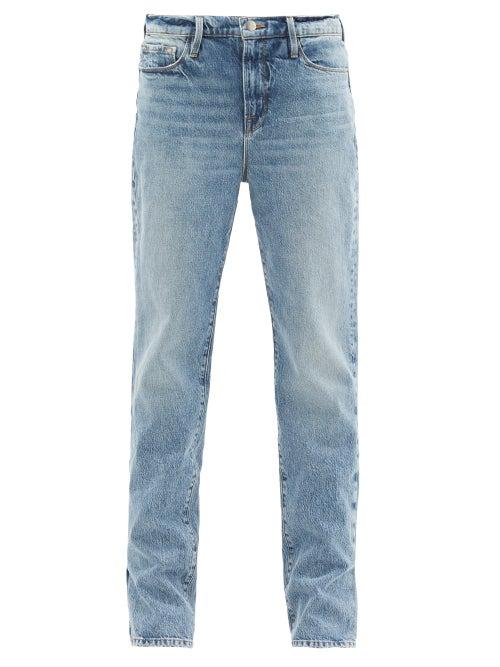 Frame - Le Drew Pleated-seam Straight-leg Jeans - Womens - Denim