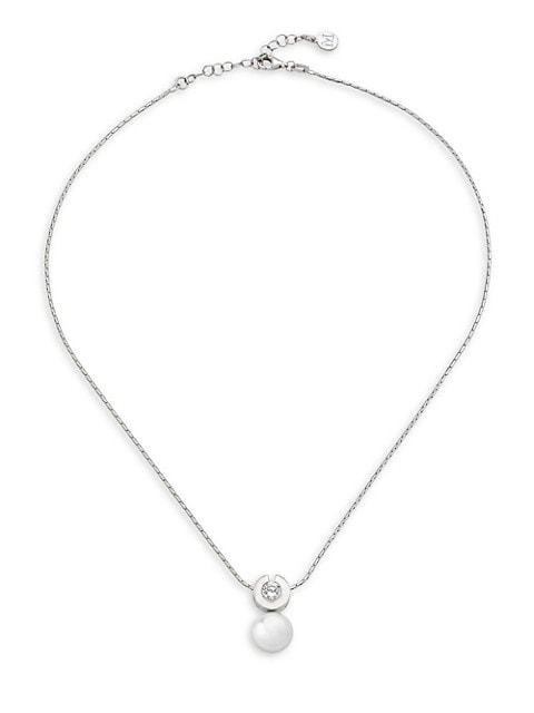 Exquisite 10MM White Round Faux Pearl and Cubic Zirconia Necklace