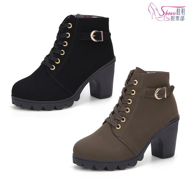 韓版百搭綁帶拉鍊厚底粗高跟短靴 023-LH1308 鞋鞋俱樂部 黑/綠 版型偏小