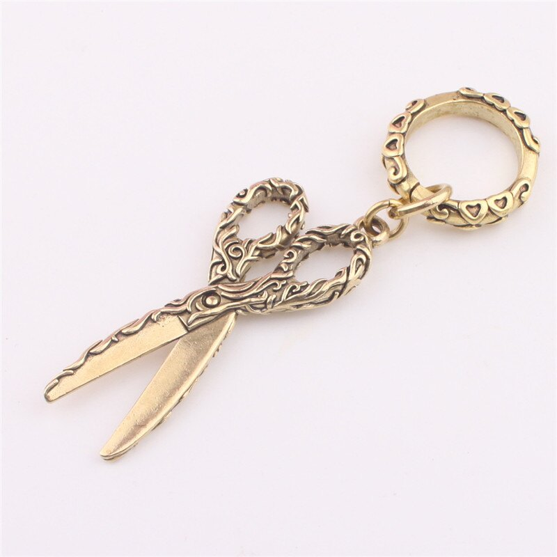 中國風銅飾純黃銅創意小剪刀鑰匙扣掛件汽車鑰匙掛鏈飾品個性禮品1入