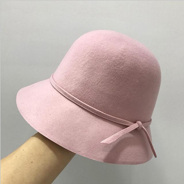 羊毛呢帽子女冬天冰淇淋色女生簡約可折疊蝴蝶結優雅小盆帽漁夫帽1入