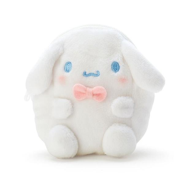 小禮堂 大耳狗 造型絨毛零錢包 玩偶零錢包 圓形零錢包 耳機包 (白 全身) 4550337-22762