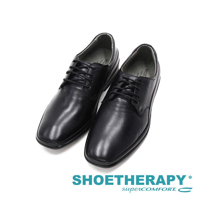 SAPATOTERAPIA巴西NEW london方頭氣墊感彈力透氣綁帶皮鞋 男鞋-黑