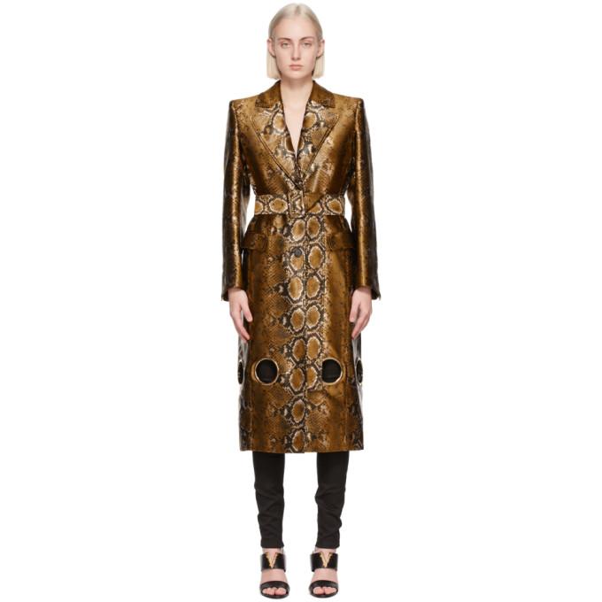 Versace 棕色 Python Print 镂空大衣