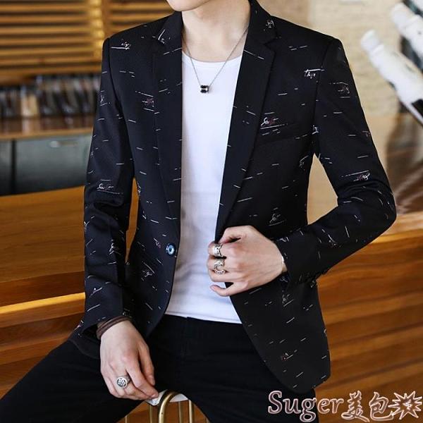 西裝外套 新款西服男休閒韓版帥氣潮流修身小西裝外套發型師薄款單上衣  suger
