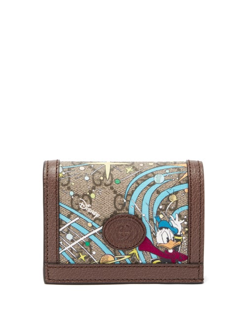 Gucci - X Disney Donald Duck-print Canvas Wallet - Womens - Brown Multi