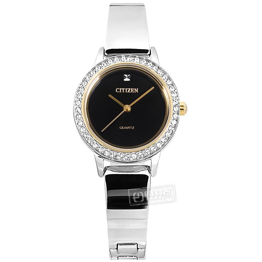 CITIZEN 珍珠母貝 小巧典雅 耀眼晶鑽 日本機芯 不鏽鋼手錶 黑x銀 EJ6134-50E 23mm 廠商直送
