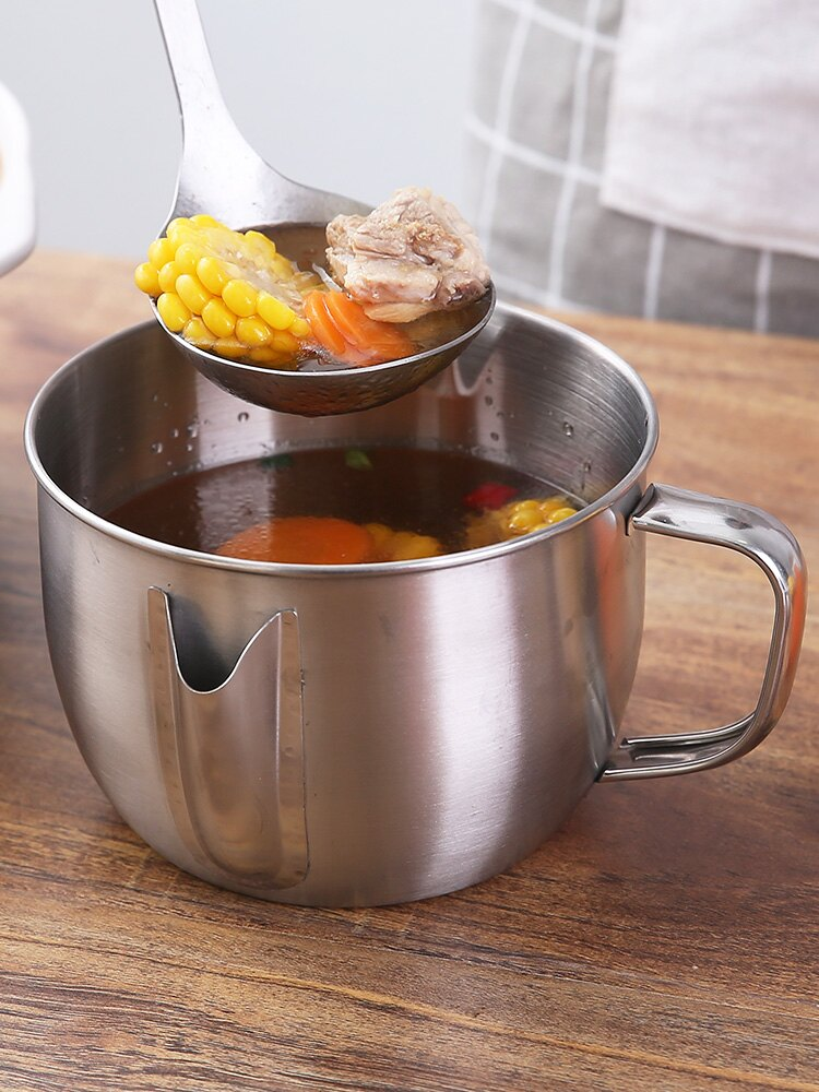 大容量濾油神器304不銹鋼喝湯撇油隔油壺湯油分離過濾油脂分離碗1入