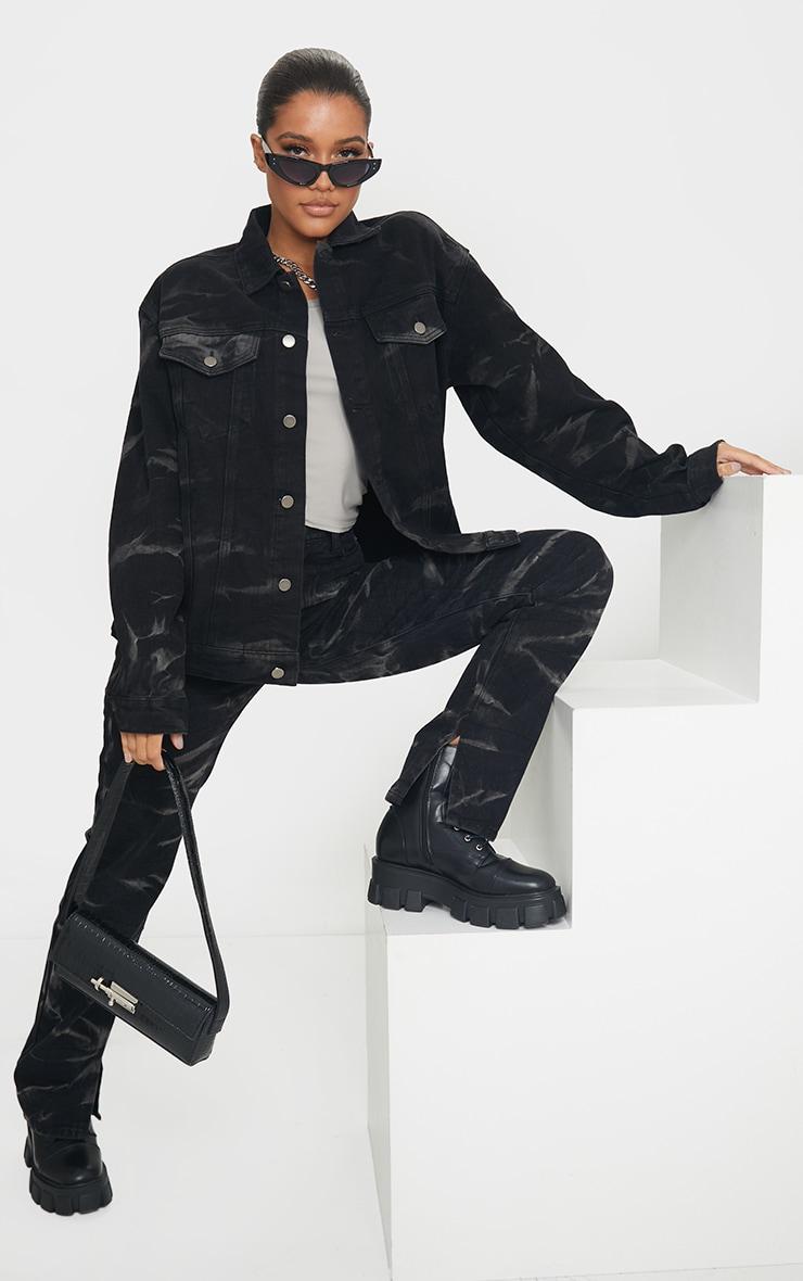 Black Tie Dye Oversized Denim Boyfriend Jacket