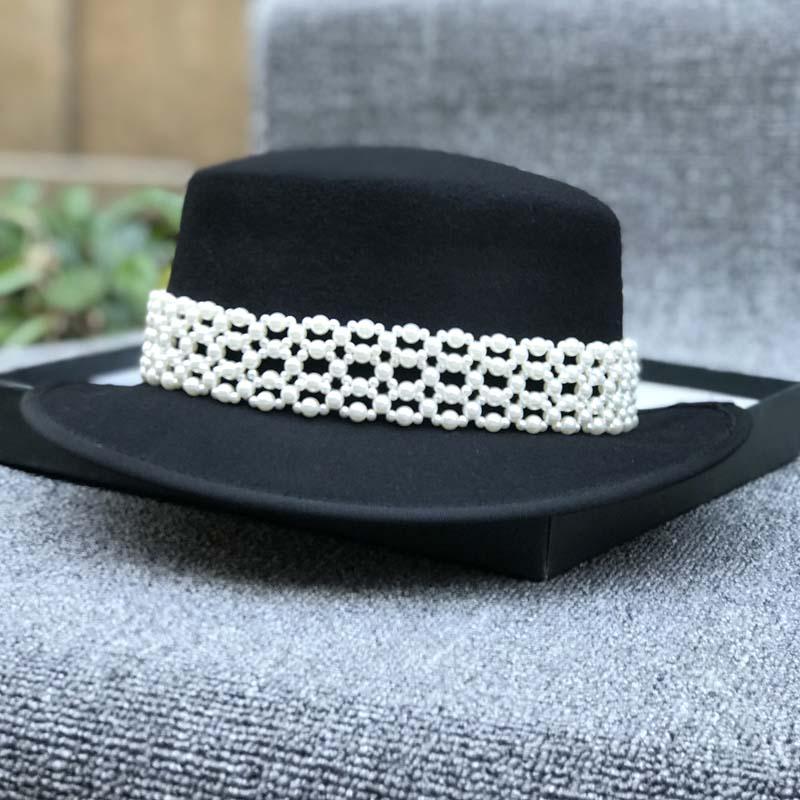 日系赫本風復古珍珠羊毛呢帽子黑色禮帽女秋冬韓版英倫簡約百搭帽1入