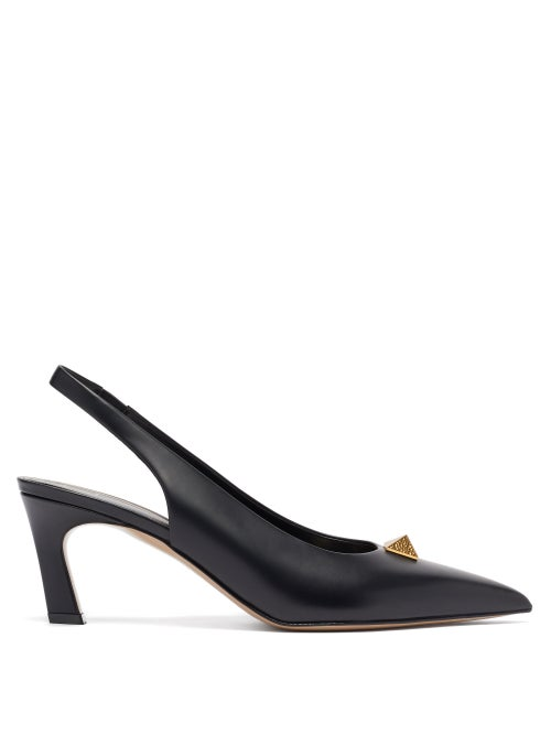 Valentino Garavani - Roman Stud Slingback Leather Pumps - Womens - Black