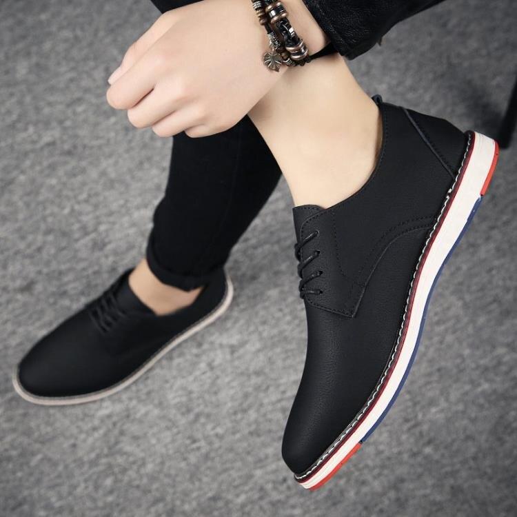 秋季青年休閒小皮鞋男士韓版潮流百搭增高商務正裝英倫鞋子男板鞋