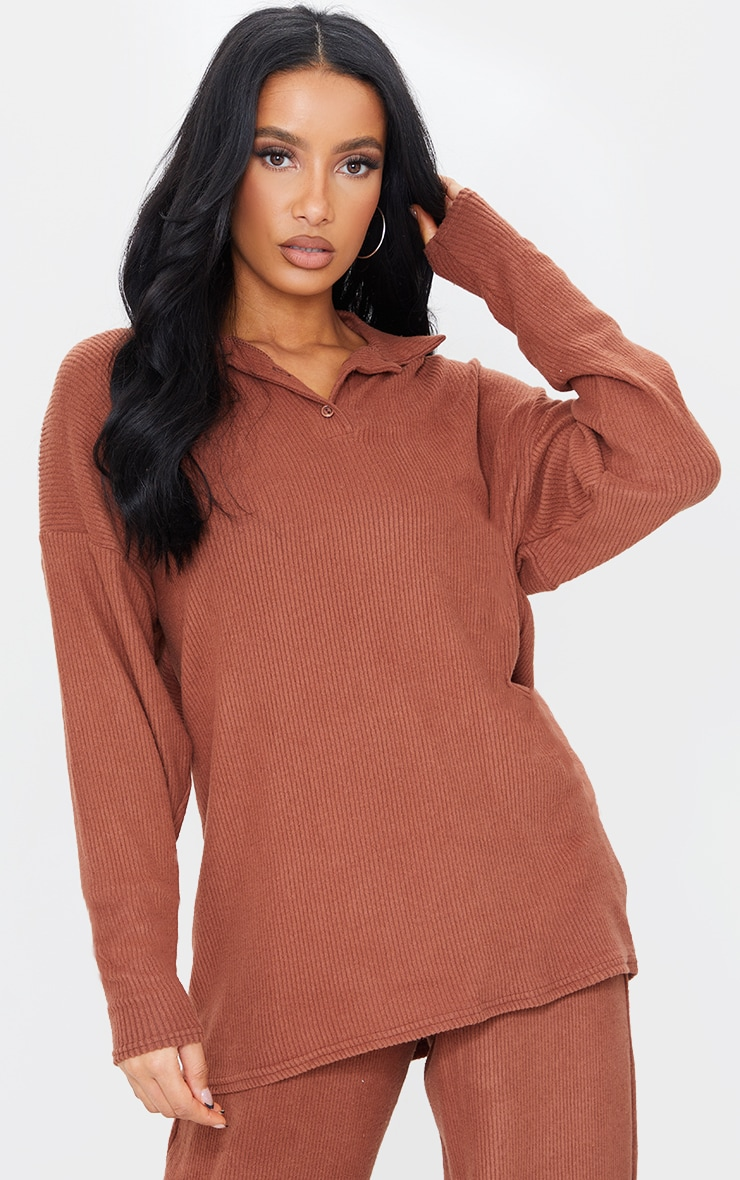 Chocolate Brown Brushed Rib Oversized Longline Polo Top
