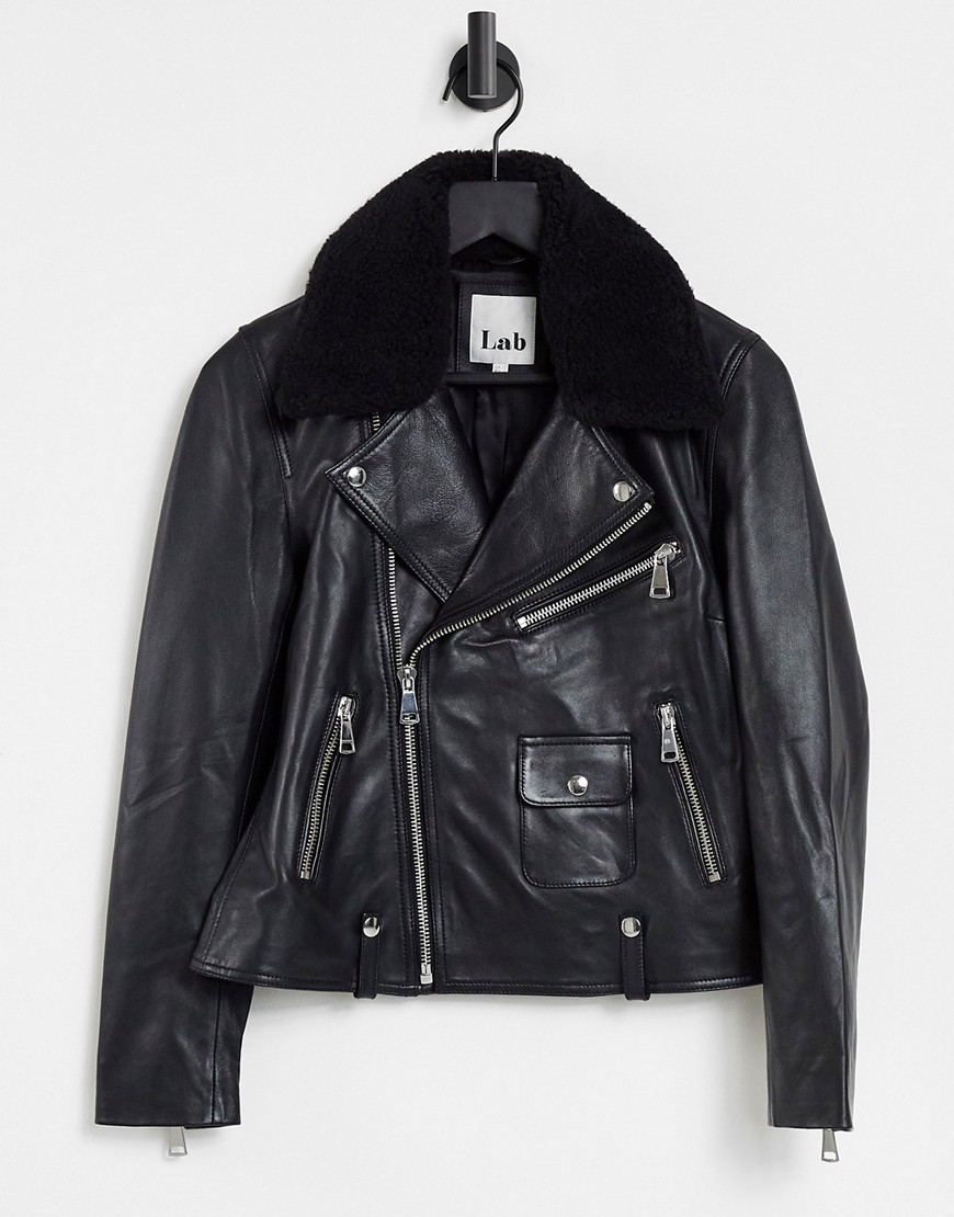 Lab Leather biker jacket with borg collar in black