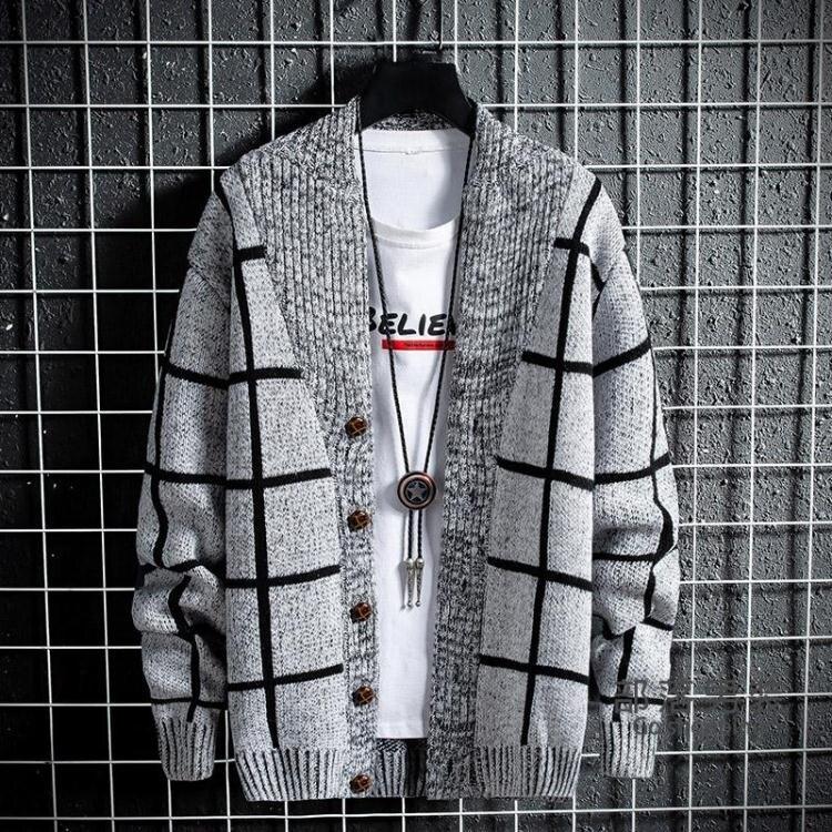 針織開衫 秋冬季毛衣男針織衫青年韓版男士修身開衫加厚毛線衣格子外套男