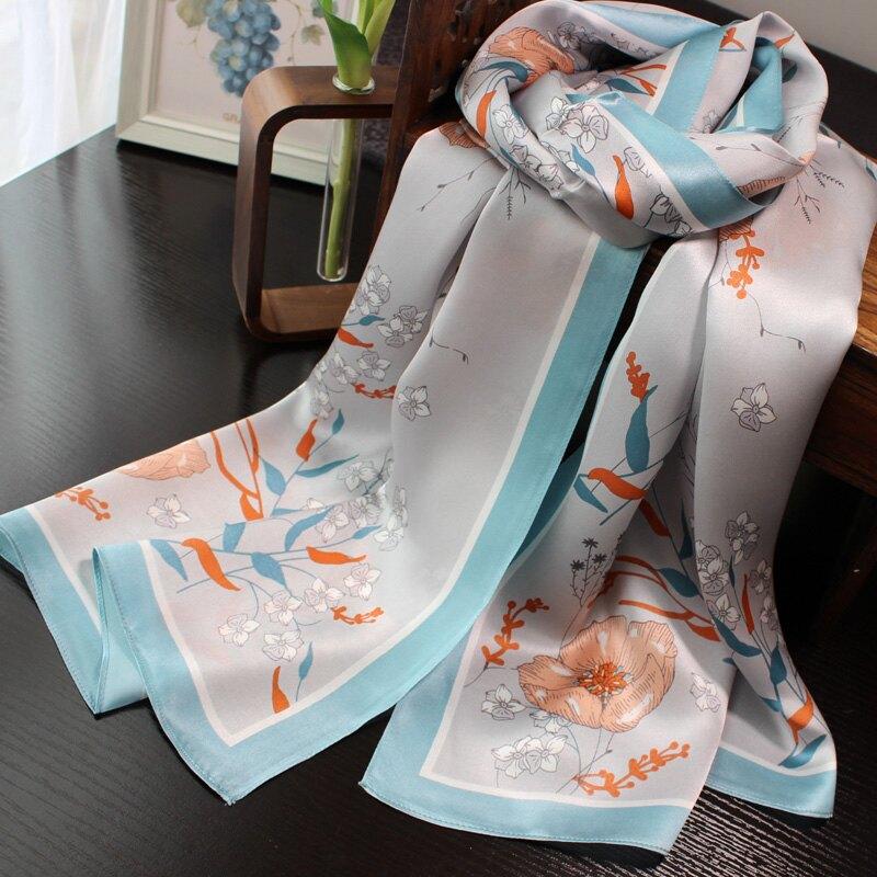 高檔桑蠶絲絲巾女春秋冬季真絲長巾窄杭州綢緞面圍巾百搭印花黃色1入
