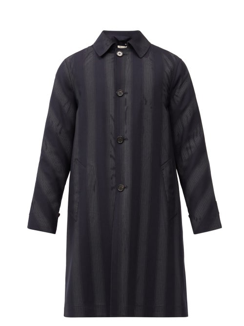 Marni - Striped Wool Car Coat - Mens - Black Blue