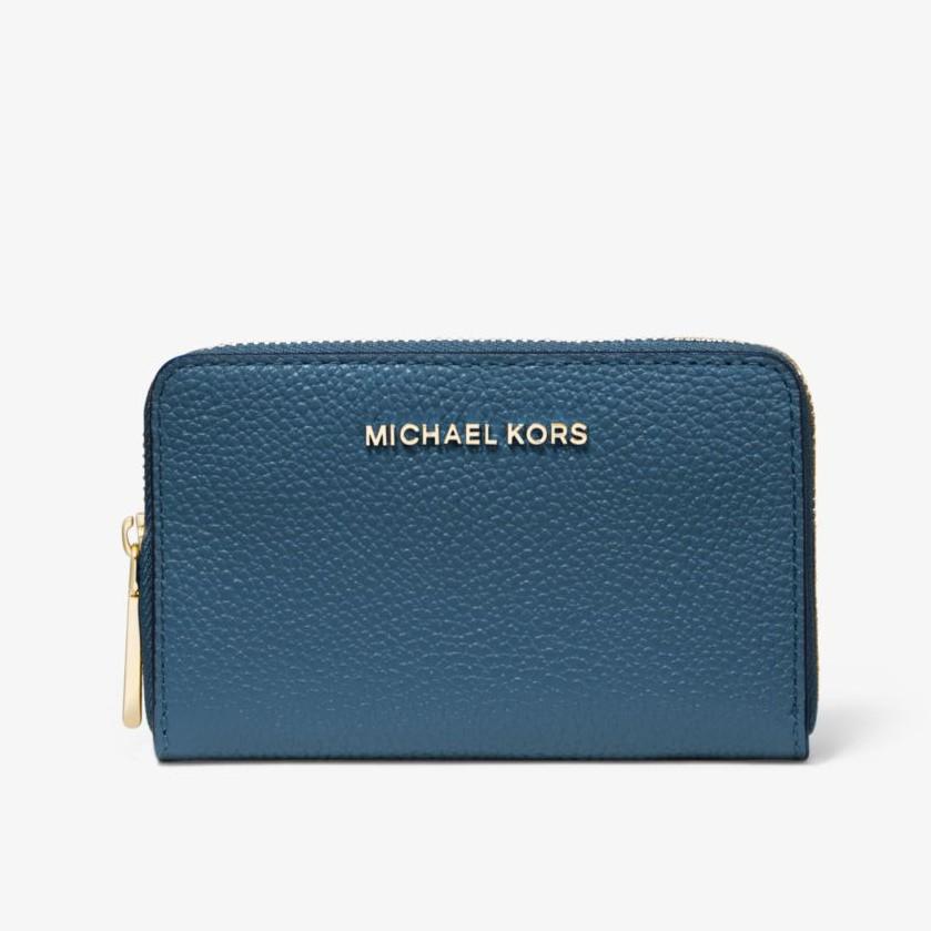 【Michael Kors】金字防刮皮革 拉鍊式短夾 MK金屬LOGO 手拿包 海軍藍色