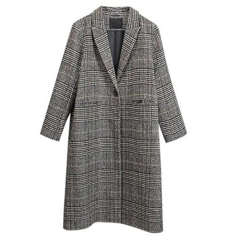 大口袋韓系毛呢加厚格子大衣外套 長版外套