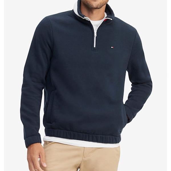 Tommy Hilfiger 男經典款1/4拉鍊運動衫(藍色)