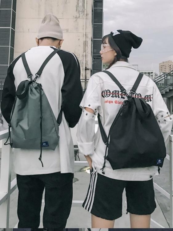夯貨折扣!束口包2020新款多功能抽繩束口袋男時尚潮流運動休閒健身包書包女後背包
