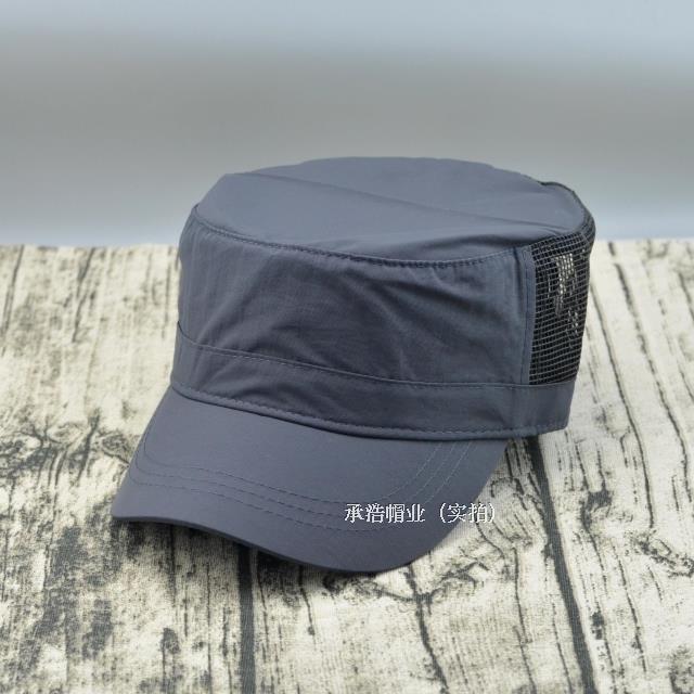 帽子男士大頭圍夏天戶外透氣軍帽平頂帽防曬遮陽韓版大號網帽1入