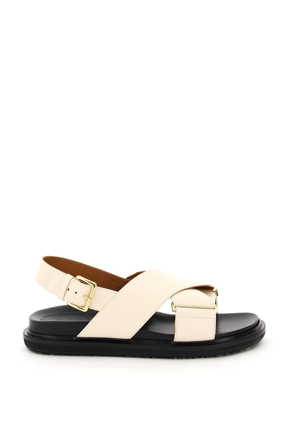 MARNI FUSSBETT CALFSKIN SANDALS 39 White, Beige Leather