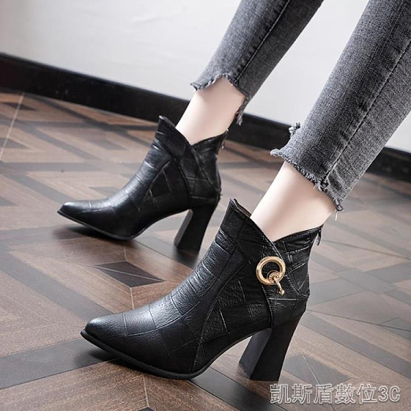 高跟短靴馬丁靴女高跟鞋尖頭秋冬新款韓版媽媽鞋粗跟時尚短靴百搭裸靴 凱斯盾