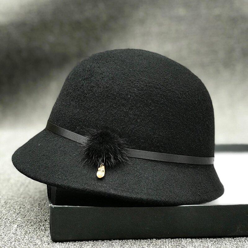 日本款氣質優雅時裝帽毛球鉆扣羊毛呢盆帽女英倫復古秋冬漁夫帽1入