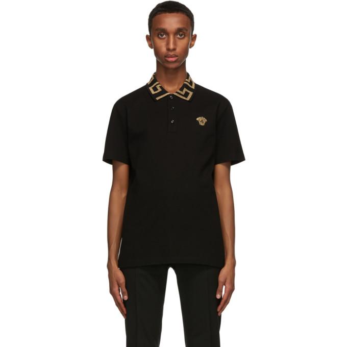 Versace 黑色 Greca Collar Polo 衫