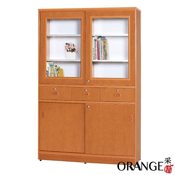【采桔家居】海莉 環保3.9尺南亞塑鋼三抽四推門高書櫃/收納櫃