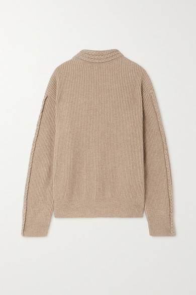 Envelope1976 - 【net Sustain】zurich 绞花针织美利奴羊毛羊绒混纺毛衣 - 浅褐色 - FR34